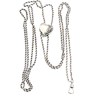 Wonderful Vintage Sterling Silver  Heart Slide and Chain