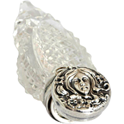 Art Nouveau Sterling and Crystal Perfume Bottle for Chatelaine