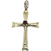 Very Sweet Antique Gold Cross With Garnet