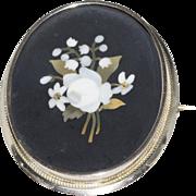 Lovely 10K Victorian Pietra Dura Brooch Floral Design