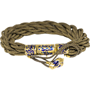 Exquisite Victorian Woven and Braided Hair Bracelet with 14k Cobalt Blue Enamel Fittings