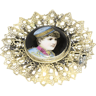 Victorian Vagabond Boy on Porcelain Broach set in 800 Filigree Silver