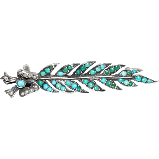 Charming Victorian Silver Turquoise and Pearl Feather Pin