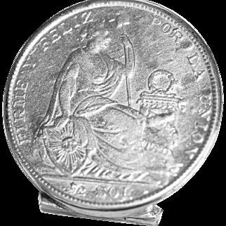 Vintage Sterling Coin Pill Box Republica Peruana Lima 1928