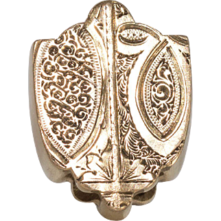 Beautiful 14k Gold Engraved Antique Shield Shaped Large Watch Slide