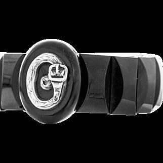Victorian Whitby Jet Bracelet with Silver Belt Buckle Motif