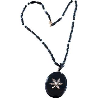 Antique Victorian 14k Black Onyx and Pearl Necklace with Locket in Back