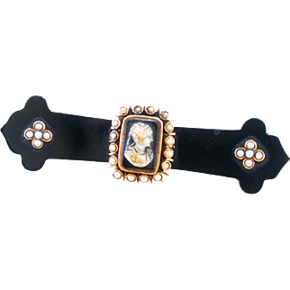 Outstanding Antique Victorian Onyx Brooch with Stone Cameo and Pearls