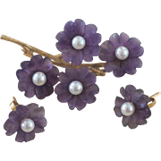 Lovely Vintage 14k Carved Lavender Amethyst and Pearl Brooch and Earrings