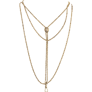 Edwardian Gold Chain on an Estruscan Design Slide with Pearls