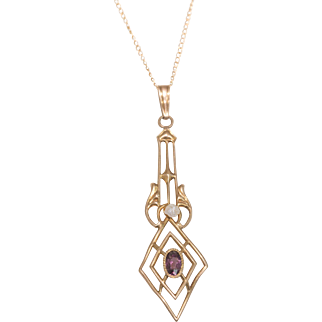 Lovely Edwardian Gold Amethyst and Pearl Lavalier