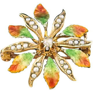 Vintage Gold, Enamel and Seed Pearl Flower Pin