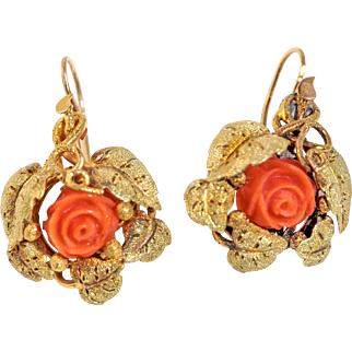 GorgeousVintage 14k Carved Coral Earrings