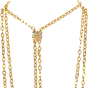 Lovely Antique 14k Opal and Seed Pearl Slide on 48 Inch Gold Filled Chain