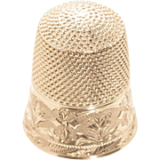 Beautiful 14k Thimble – Flower and Leaf Design - Size 9
