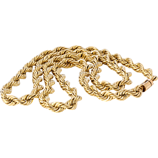 Outstanding Vintage 14k Heavy Sold Gold Rope chain