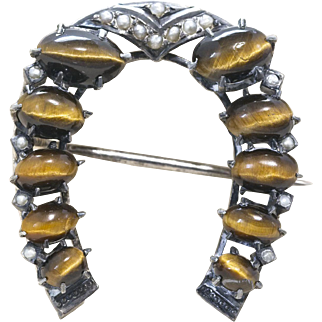 Victorian Silver Tigers Eye and Pearl Horseshoe Brooch