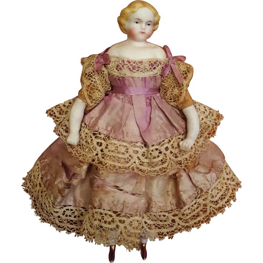 All original 1860s parian dolls house doll with pink for Lustre original