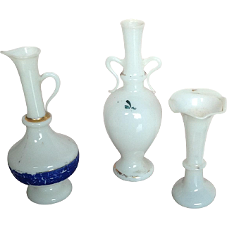 Collection of 3 19thC miniature milk glass vases