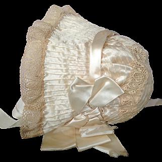 Original 19thC silk dolls bonnet