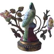 19thC French porcelain miniature ornament with gilt metal decoration