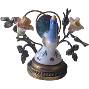19thC French miniature porcelain and gilt metal ornament