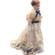 19thC glass eyed bisque dolls house doll