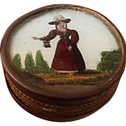 Early 19thC glass top box with painting of a lady