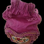18thC Silk and beadwork ladies Reticule
