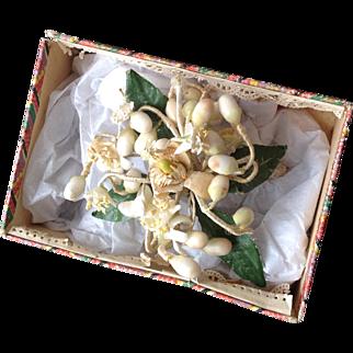 19thC miniature wax bouquet for fashion dolls