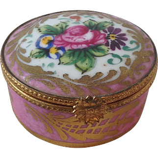19thC Limoges porcelain box for display with dolls