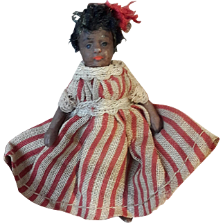 Miniature French all bisque black doll