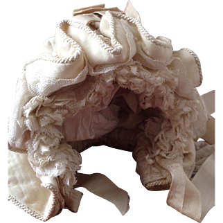 19thC dolls bonnet with bavolet
