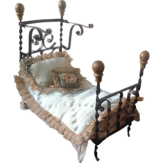 19thC Wrought Iron Half Tester dolls house Bed with Original Bedding