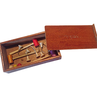 19thC miniature croquet set for display with dolls.