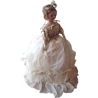 Simon and Halbig glass eyed bisque dolls house doll in original clothing