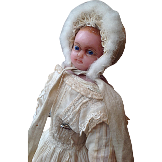 19thC English poured wax doll 14 inches tall