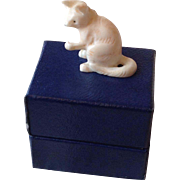 Sweet little 19thC carved cat for dolls house