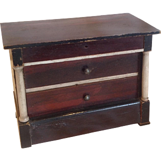 19thC Waltershausen Dolls house chest of drawers