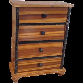 19thC German tall dolls house chest