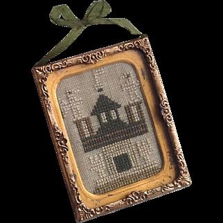 Early 19thC miniature sampler in gilt frame