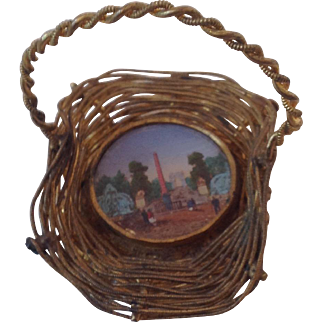 19thC Miniature French gilt basket with Eglomise insert