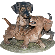 Dahl Jensen Denmark Copenhagen Porcelain Animal Figural: Dachshund Dogs Playing #1257 Lauritz Jensen Factory 1st