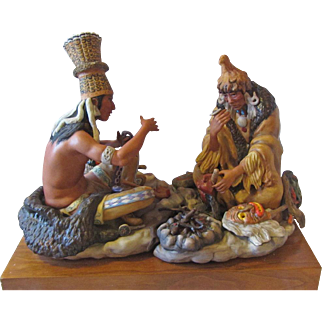 Cybis Porcelain Figurine Indian Men with Peace Pipes MINT