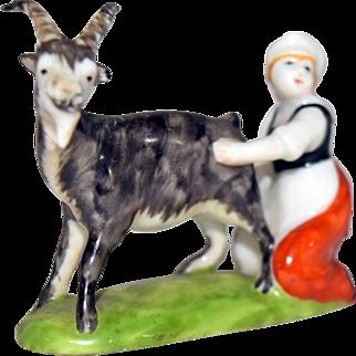 Rosenthal Germany Porcelain Maiden Milking Dairy Goat Figurine