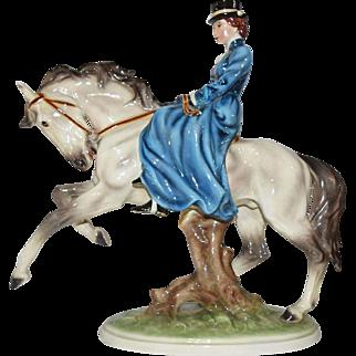 Keramos Wien Austria Sidesaddle Lady on Horseback - MINT