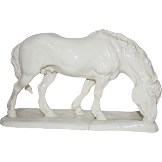 Nymphenburg Germany Karner Grazing Draft Horse Figurine