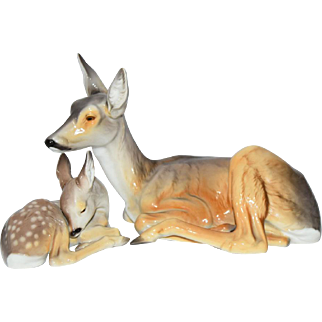 Nymphenburg Germany Lying Deer Doe and Fawn