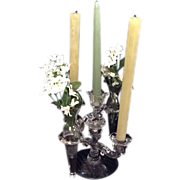 Cambridge Glass Candelabra with Hanging Tapered Vases