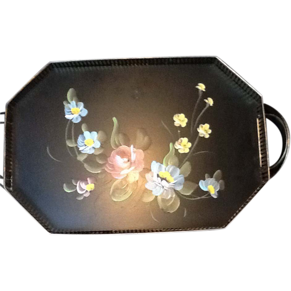 Painted Black Tray Painted With Flowers S